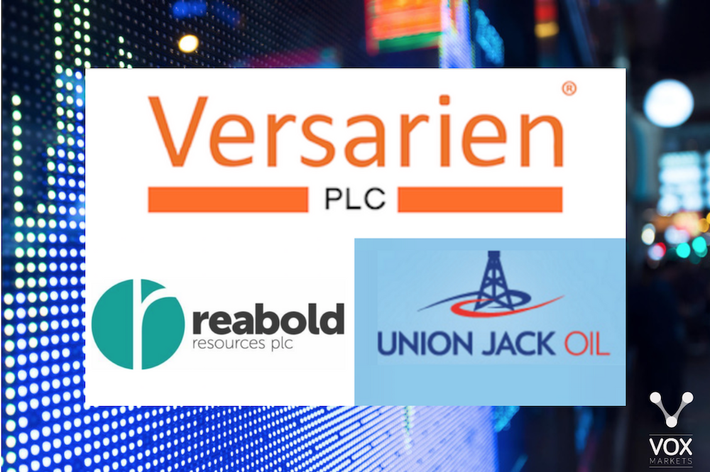 Audioboom / Versarien, Reabold Resources and Union Jack Oil
