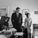Kennedy Johnson and others watching flight of Astronaut Shepard on television 05 May 1961