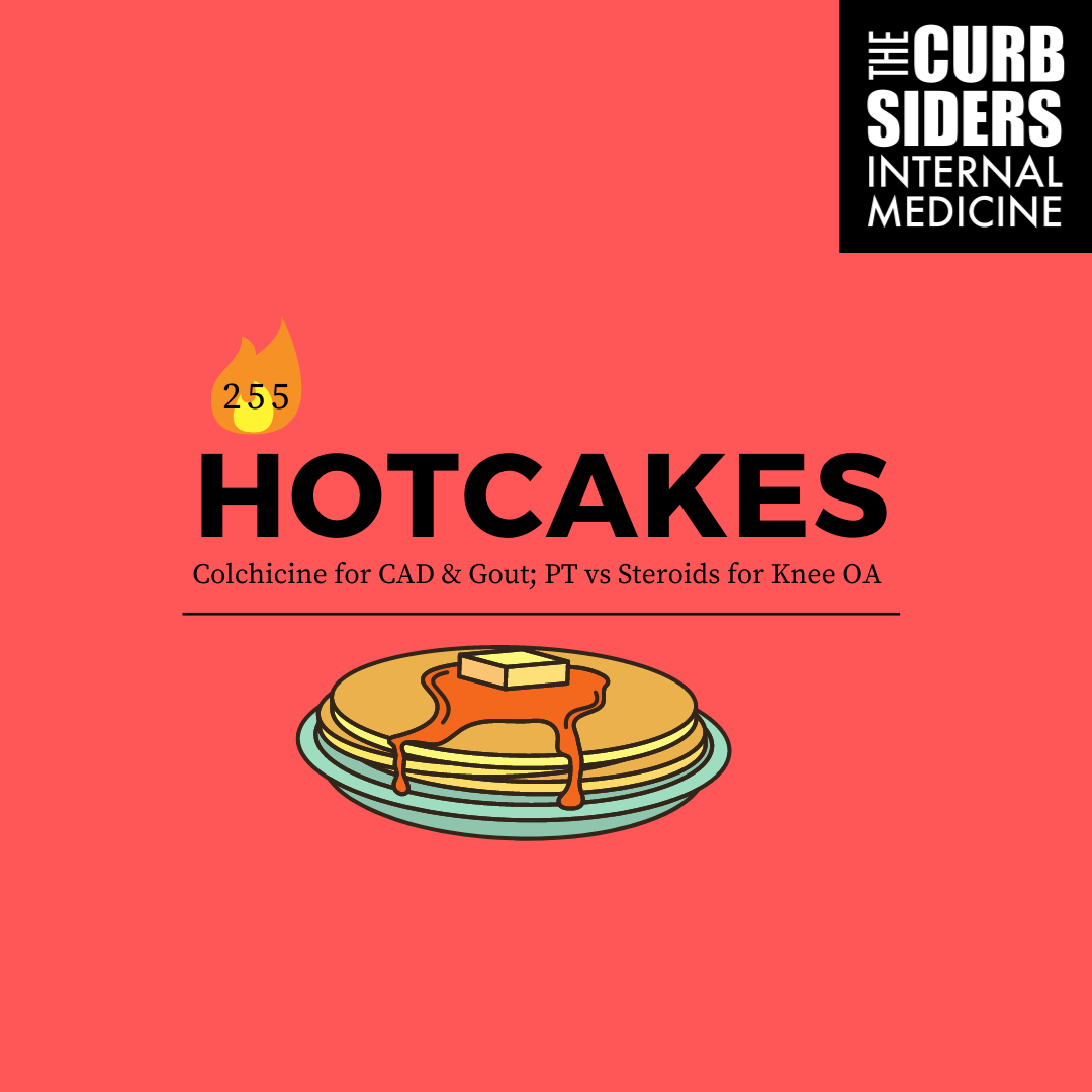 #255 Hotcakes: Colchicine for CAD, and Gout flares, PT versus Steroids for Knee OA